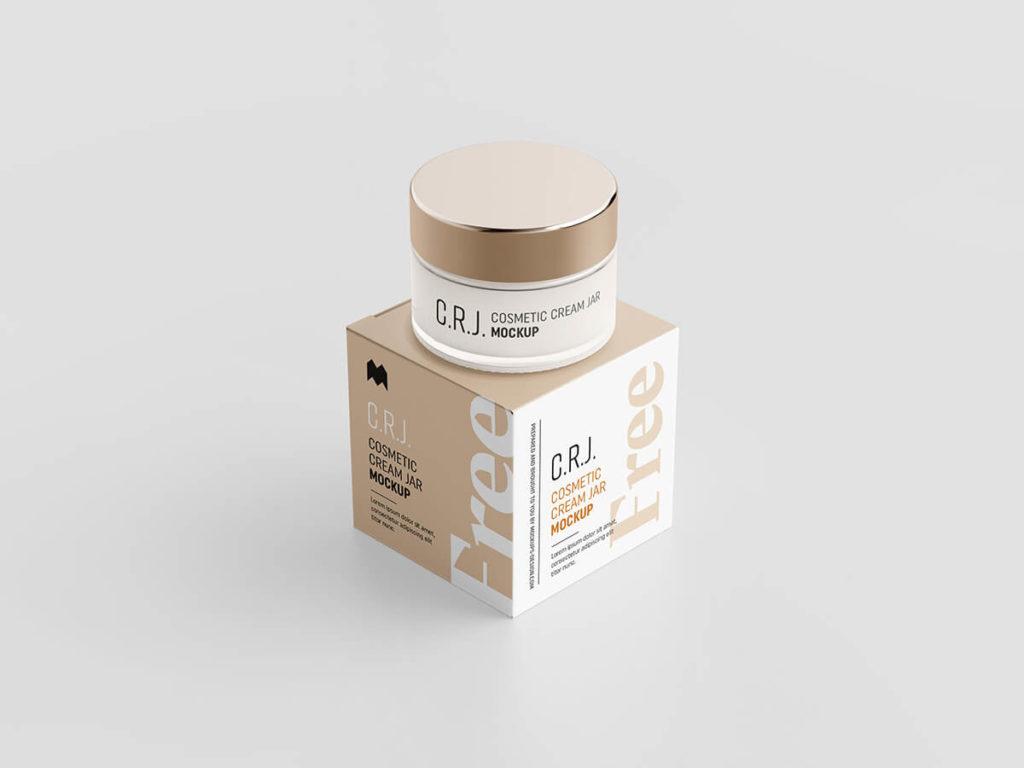 Download Free Beautiful cosmetic box with jar mockup Set PSD