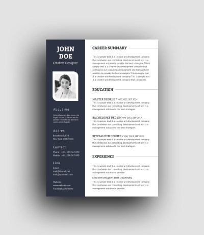 PSD Elegant Professional Resume Template