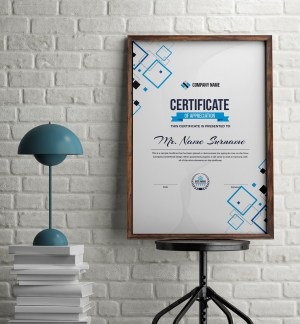 Portrait Certificate Template with Modern Design