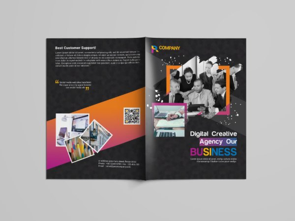 Black Bi-Fold Brochure Design