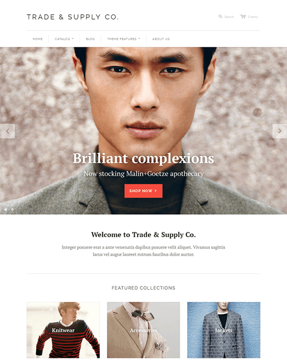 trade supply shopify themes clothing stores