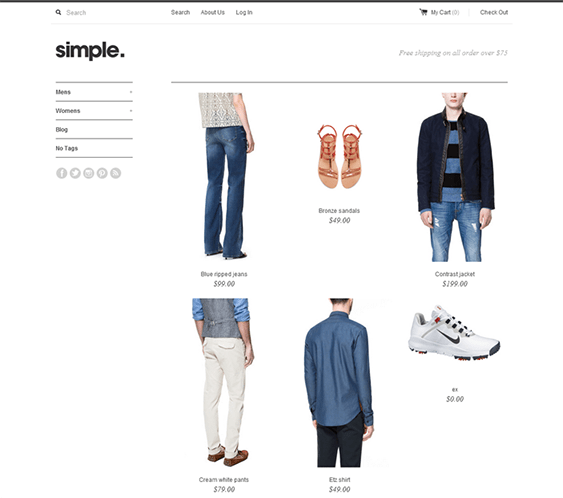 simple shopify themes clothing stores