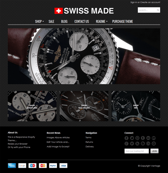 vantage swiss made watch jewelry shopify theme