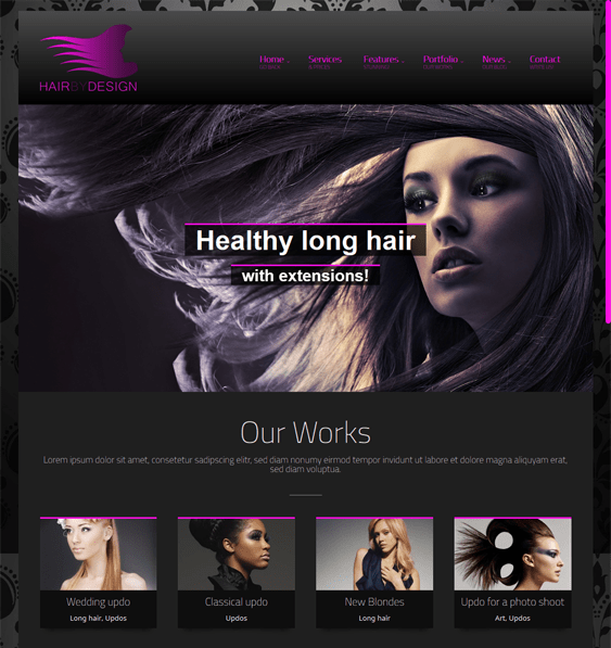 hairbydesign hair salon wordpress theme