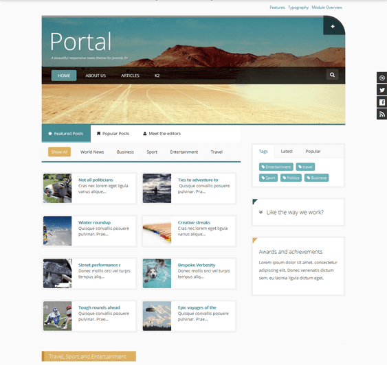 portal joomla news template