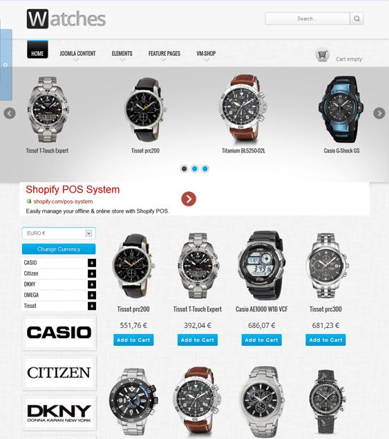 watches shop free responsive virtuemart template