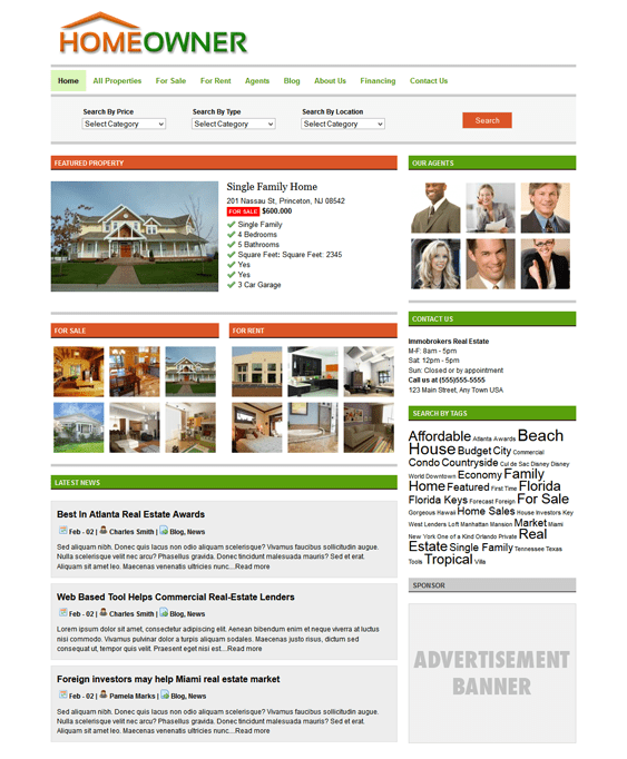 homeowner real estate wordpress theme