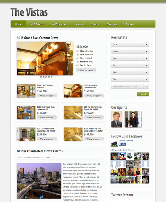 vistas real estate wordpress theme