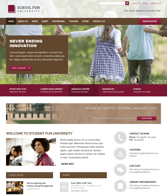 schoolfun education school wordpress theme