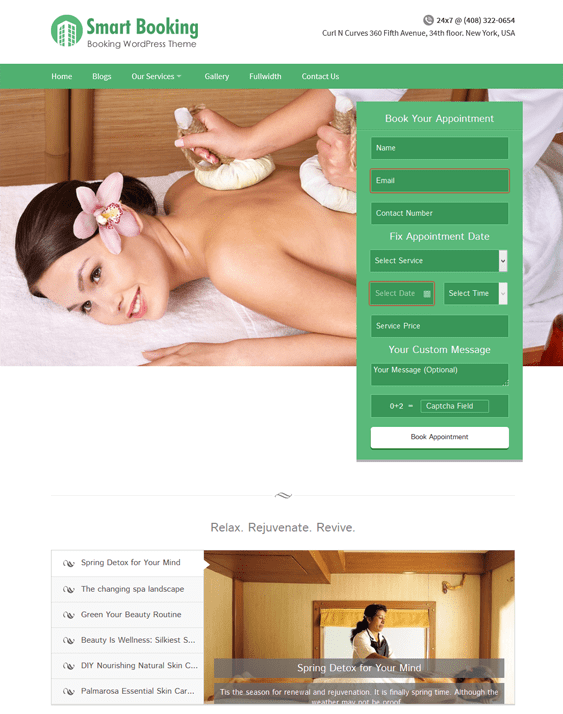 smartbooking beauty salon spa wordpress theme