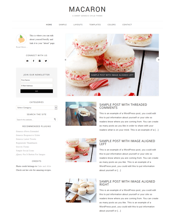 macaron food recipe baking cooking wordpress theme