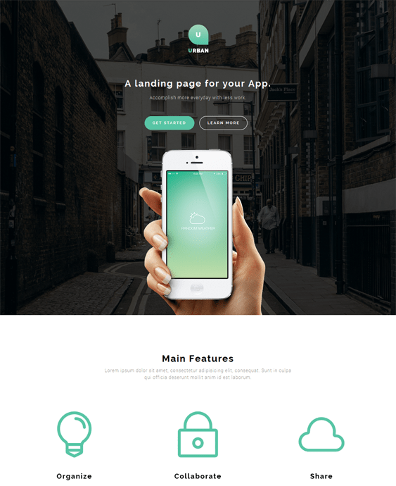 urban one page wordpress theme