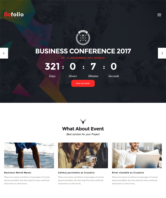 befolio wordpress themes for events