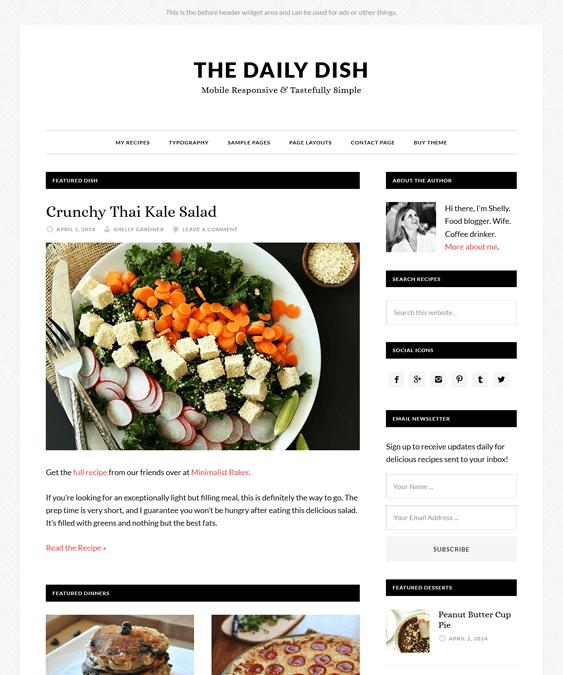 daily dish recipe food wordpress theme