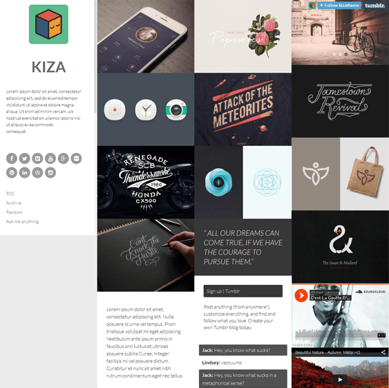 kiza masonry tumblr theme