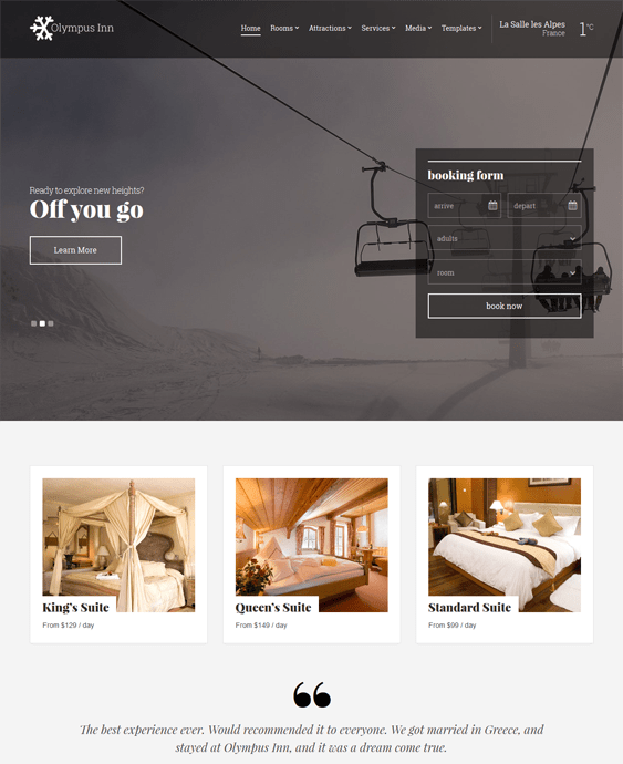 olympus hotel wordpress theme