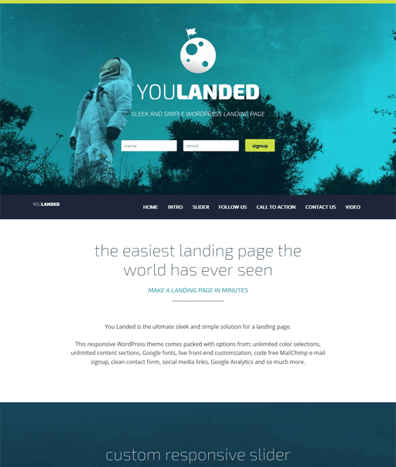 you landed landing page wordpress theme