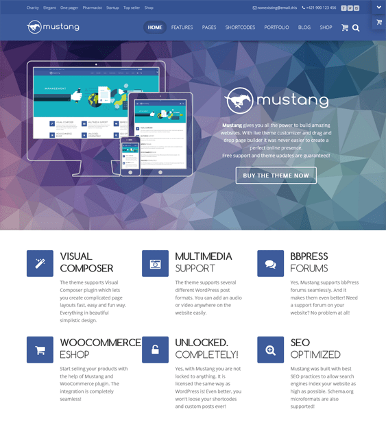 mustang single page wordpress theme