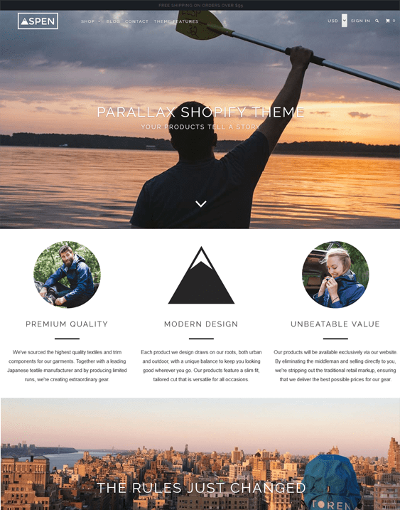 parallax aspen shopify themes outdoor goods camping equipment
