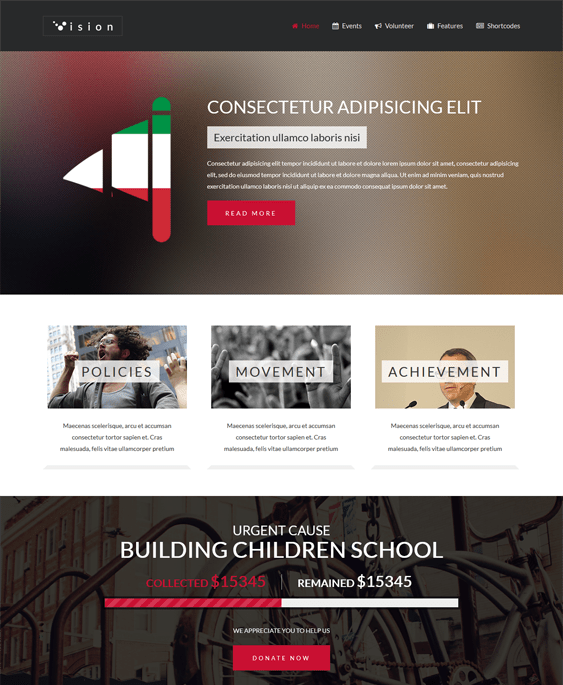 vision political wordpress theme
