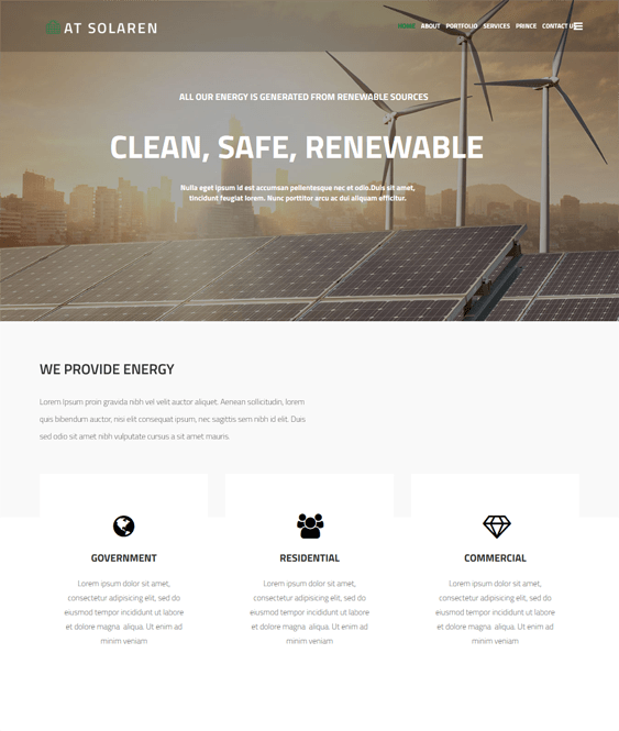 at solaren one page joomla templates