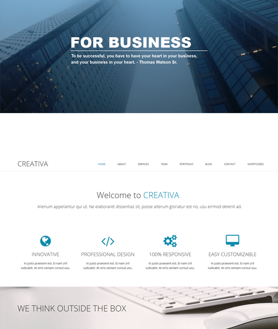 creativa one page wordpress theme