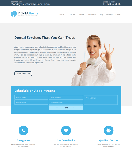 denta medical wordpress theme