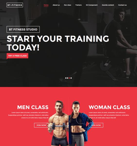bt fitness parallax joomla templates