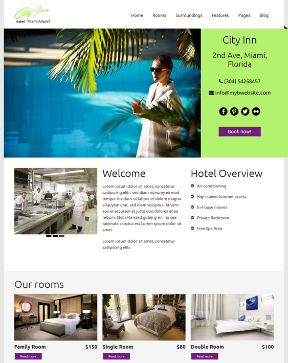 cityinn hotel wordpress theme