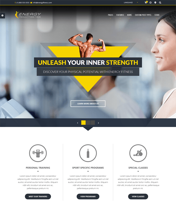 energy gym fitness wordpress theme