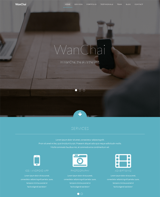wanchai single page wordpress theme