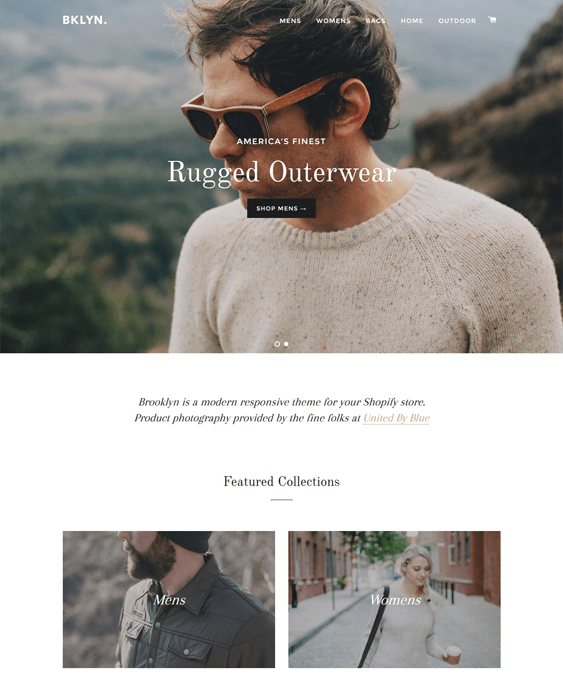 brooklyn shopify themes clothing stores