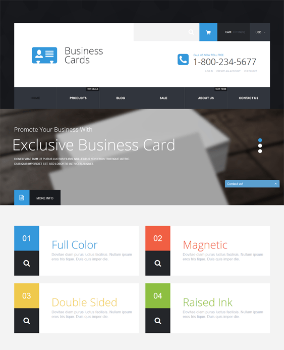 business cards responsive shopify themes