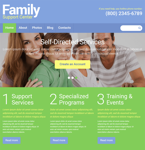family center kids joomla templates