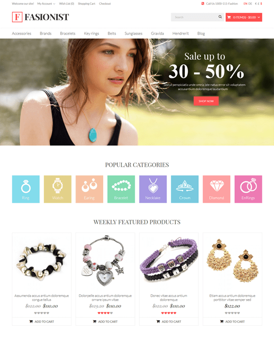 fashionist jewelry watch opencart themes