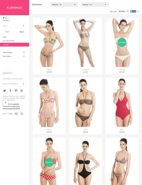 flamingo swimwear lingerie shopify themes