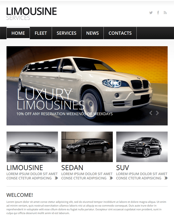 limousine car vehicle automotive joomla templates