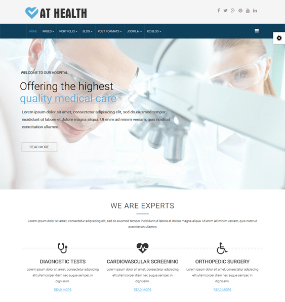 at health medical joomla templates