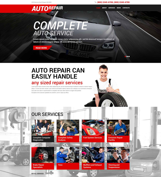 auto car mechanic repair shop wordpress themes