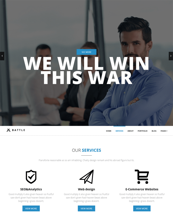 battle one page wordpress themes feature