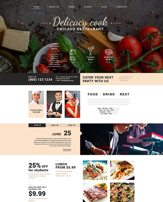 fancy restaurant bakeries bars joomla templates