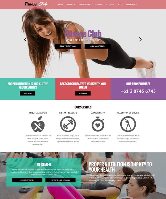 fitness club gym fitness drupal themes