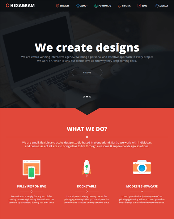 hexagram one page wordpress themes