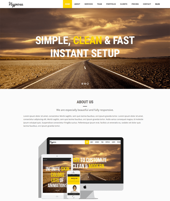 hypnosa one page wordpress themes