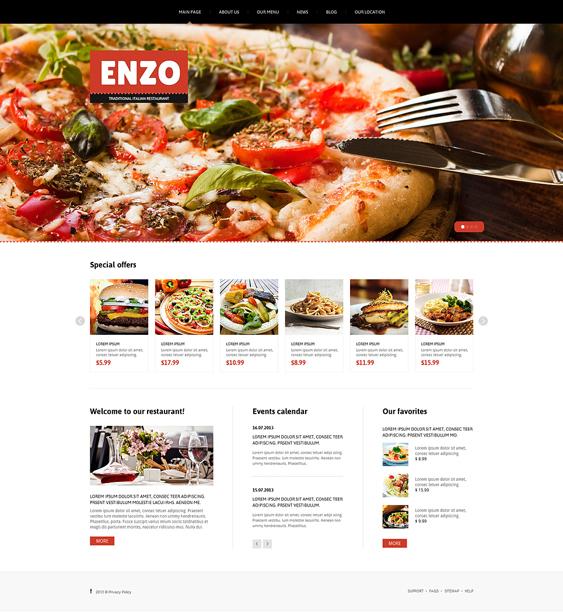 italian restaurant bakeries bars joomla templates