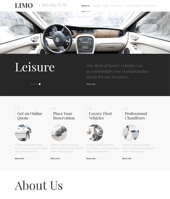 limousine transportation wordpress themes