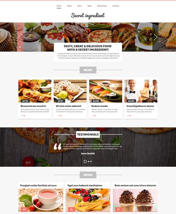 refined restaurant bakeries bars joomla templates