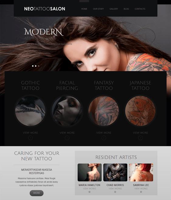 responsive tattoo salon wordpress themes