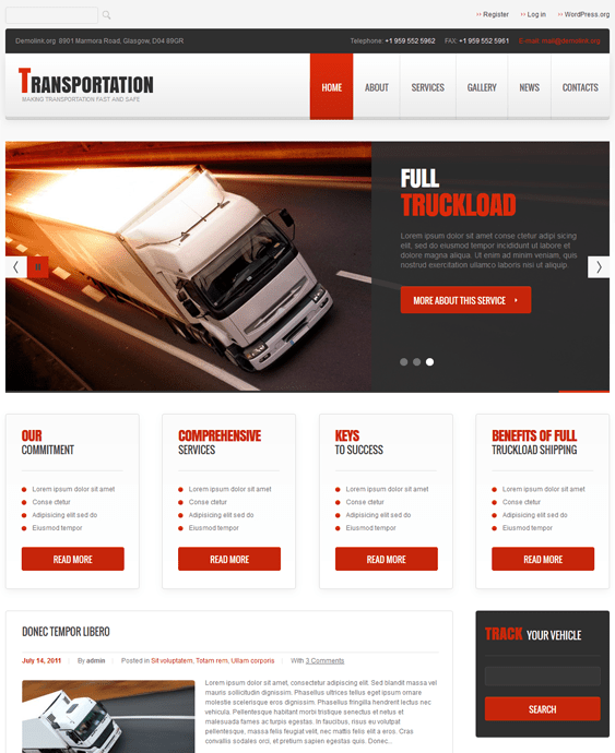 transportation wordpress themes responsive