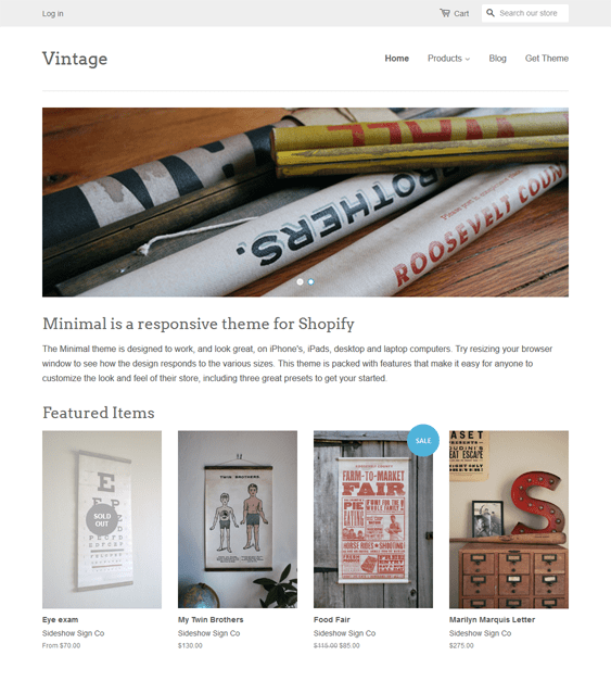 vintage shopify themes art stores